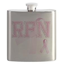 RFN initials, Pink Ribbon, Flask