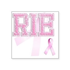"RIE initials, Pink Ribbon, Square Sticker 3"" x 3"""