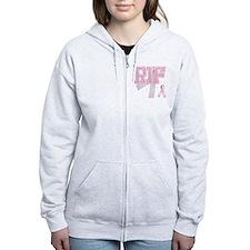 RIF initials, Pink Ribbon, Zip Hoodie