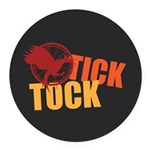 Tick Tock Catching FIre Round Car Magnet