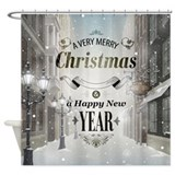 Christmas street Shower Curtains