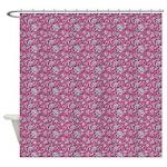 Block Floral Fuchsia Shower Curtain