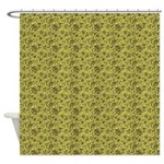 Block Floral Lime Brown Shower Curtain