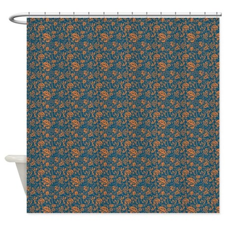 Block Floral Navy Shower Curtain By Kippygocontempo