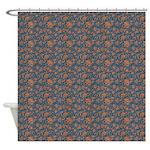 Block Floral Navy Shower Curtain