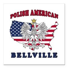 "Bellville Texas Polish Square Car Magnet 3"" x 3"""
