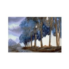 Artistic Blue Watercolor Lane Rectangle Magnet