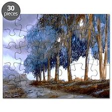 Artistic Blue Watercolor Lane Puzzle