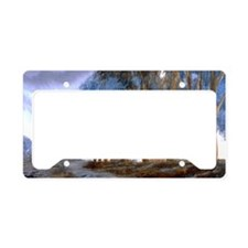 Artistic Blue Watercolor Lane License Plate Holder