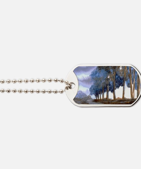 Artistic Blue Watercolor Lane Dog Tags