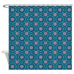 Floral Damask Azure Shower Curtain