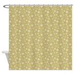 Gold Snowflakes Shower Curtain