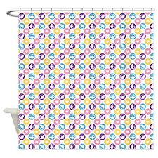 Heart Kitties Polka Dot Shower Curtain