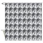 Optical Steps Grey Shower Curtain
