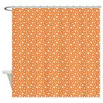 Orange Peach Stars Shower Curtain
