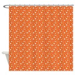 Orange Stars Shower Curtain
