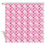 Pink Hearts Polka Dot Shower Curtain