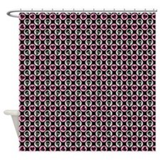 Skulls and Hearts Polka Dot Shower Curtain