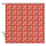 Split Circles Pinwheel Orange Shower Curtain