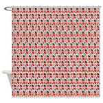 Split Circles Tulip Orange Shower Curtain