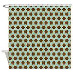 Spolka Plots Brown Blue Shower Curtain