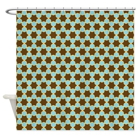 spolka plots brown blue shower curtain by