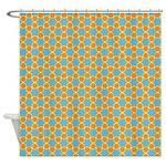 Spolka Plots Orange Blue Shower Curtain
