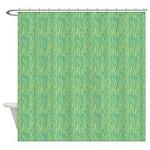 Zebra Green Blue Shower Curtain