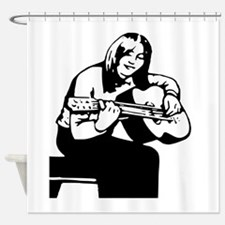 Girl Playing Guitar Shower Curtain