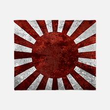 Japanes Land Rising Sun Square Throw Blanket