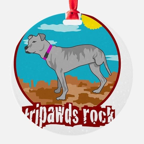 Tripawd Pitbull Rear Leg Blanket Ornament