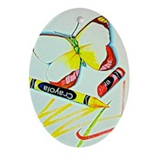 Crayon Butterfly Oval Ornament