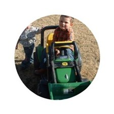 "Kids Playing on Tractor 3.5"" Button"