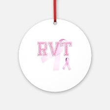 RVT initials, Pink Ribbon, Round Ornament