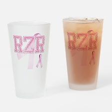RZR initials, Pink Ribbon, Drinking Glass
