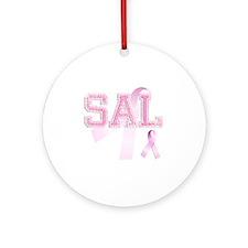 SAL initials, Pink Ribbon, Round Ornament