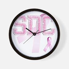 SDC initials, Pink Ribbon, Wall Clock