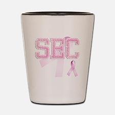 SEC initials, Pink Ribbon, Shot Glass