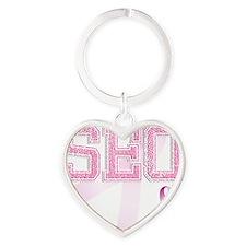 SEO initials, Pink Ribbon, Heart Keychain