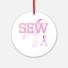SEW initials, Pink Ribbon, Round Ornament