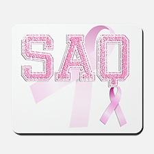 SAQ initials, Pink Ribbon, Mousepad