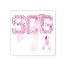 """SCG initials, Pink Ribbon, Square Sticker 3"""" x 3"""""""