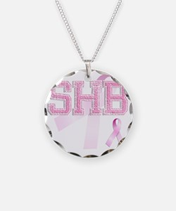 SHB initials, Pink Ribbon, Necklace Circle Charm