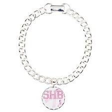 SHB initials, Pink Ribbo Charm Bracelet, One Charm