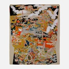 LUXURIOUS ANTIQUE JAPANESE KIMONO FO Throw Blanket