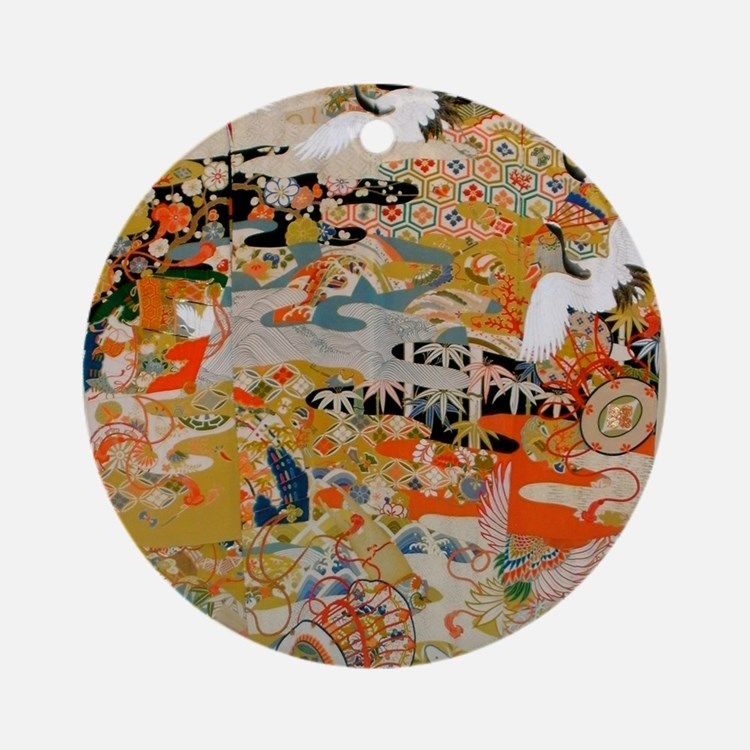 LUXURIOUS ANTIQUE JAPANESE KIMONO F Round Ornament