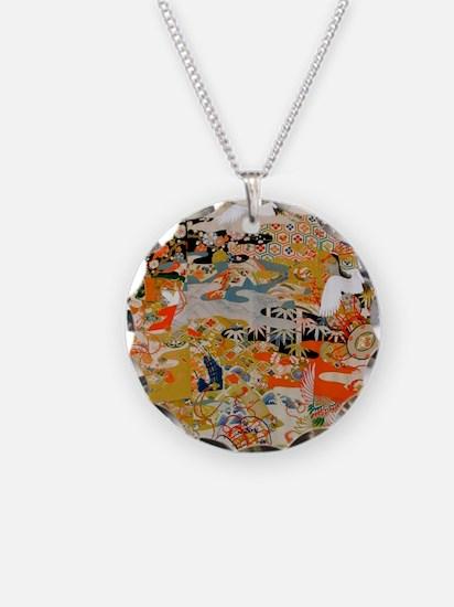 LUXURIOUS ANTIQUE JAPANESE K Necklace Circle Charm