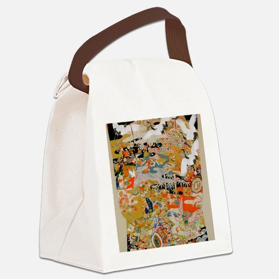 LUXURIOUS ANTIQUE JAPANESE KIMONO Canvas Lunch Bag