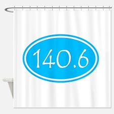 Sky Blue 140.6 Oval Shower Curtain