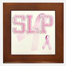 SLP initials, Pink Ribbon, Framed Tile
